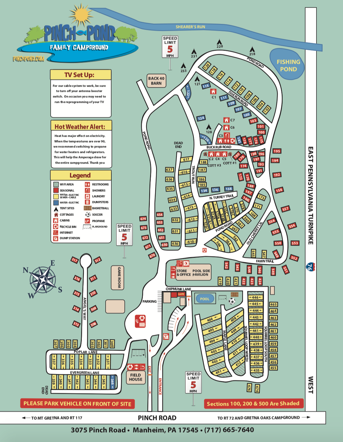 campground map for pinch pond campground